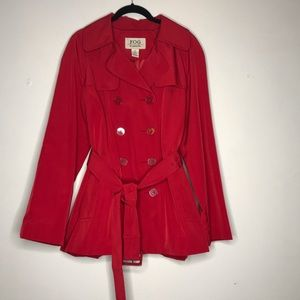London Fog Red Classic Short Trench Coat Large